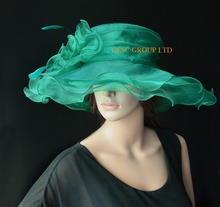 NEW Dark green Wide Brim organza hat formal dress hat for wedding,kentucky derby,ascot races,melbourne cup,party.