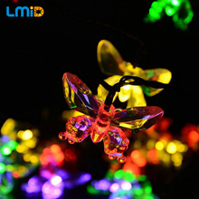 LMID Solar Lamps Colorful Butterfly Garland Fairy Luces Waterproof Christmas Outdoor Garden Solar LED Decoration Light(China)
