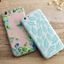 Luxury Floral Painted 3D Relief Clear Case For iPhone 6 6S PLus 4.7/5.5 Cartoon Plant Leaves Fruit Flower Cell Phone Cases Cover