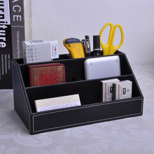 5-slot office wood desk leather stationery organizer pen pencil holder table card mobile store box case stand accessories 203A