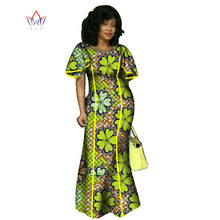 BRW 2017 Summer Robe Africaine Femme African Clothing Bazin Rich Long Plus Size Dresses for Women African Wax Print Dress WY746(China)