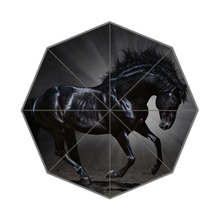 Black Horse Custom Portable Folding Travel Design Rain and Sun Beach Umbrellas Hat Unique Parasol Umbrella
