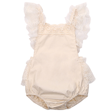 Cute Floral Toddler Baby Girls Romper Sleeveless Cotton Lace Ruffle Jumpsuit Sunsuit Clothes(China)