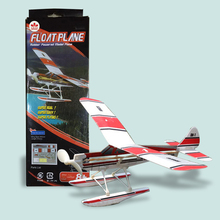 Free Shipping Float Plane Rubber Powered Model Airplane Children Gifts DIY Assembly Glider Model Kits Educational Toys(China)