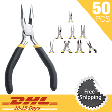 50Pcs DHL Free Shipping Jewellery Making Mini Pliers Round Cutter Beading Hand Tools Kit Tooth Nose Side Diagonal Cutting Pliers