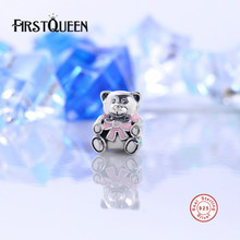 FirstQueen Authentic 925 Sterling Silver It's A Girl Teddy Bear,Pink Enamel Charm Fit original Bracelets Jewelry Accessories E