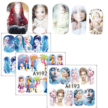 1Sheets Nail Art Water Transfer Sticker Full Cover Decals Winter Beauty Lady Girl Frozen Design Stickers Wrap Tips SAA1189-1200
