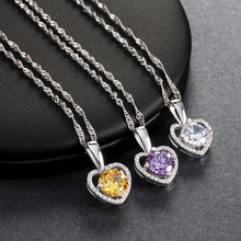 2 ct Oval Cut Clear/Yellow/Purple Cubic Zirconia Heart Shape Pendants Necklace for Women Fashion Party Wholesale Jewelry ONW96