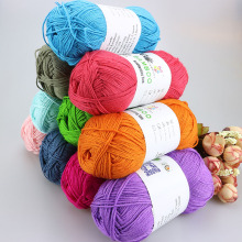 Wholesale Baby Silk Bamboo Cotton Thick Crochet Yarn Threads For Hand Knitting Eco-Friendly Dyed Children's Summer Dresses Yarns