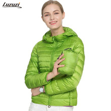 1PC 15 Colors Thin Down Jacket Women Slim Short Coats Hooded Winter Outerwear Autumn Jackets Spring Coat Z594