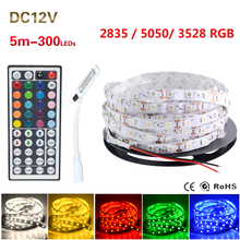 2016 Newest 44 keys Remove Controller +  60Leds/M RGB Led Strip 5M/roll DC12V Safe Led Bar Flexible light No-waterproof