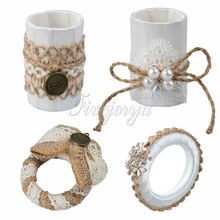 5PCS Handmade Jute Burlap Napkin Ring With Pearl Rhinestone Serviette Holder Wedding Party Banquet Hotel Dinner Table Supplies