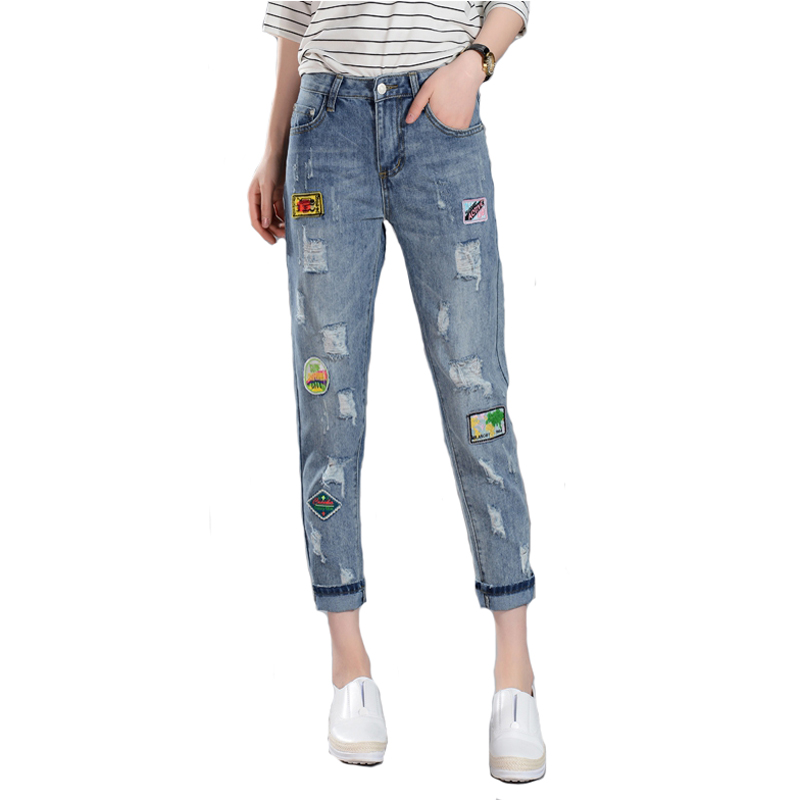 2017 Hot Sale Patchwork Ripped Holes Harem Pants Jeans Loose vintage Hole Ripped Denim Distressed boyfriend jeans for womenОдежда и ак�е��уары<br><br><br>Aliexpress
