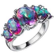 silver plated Mystic created Engagement Rings Ringbow Wedding jewelry Fashion pink red blue green Czech zircon Finger ring