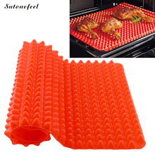 SutoneFeel Silicone Barbecue Mats Silicone Baking Pans Grill Pad Non Stick BBQ Mat Kitchen Barbecue Tools(China)