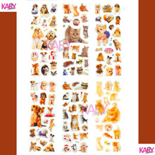 6 Sheets Pets Dogs Cats Animals Scrapbooking Kawaii Emoji Reward Kids Children Toys Bubble Puffy Stickers Factory Direct Sales