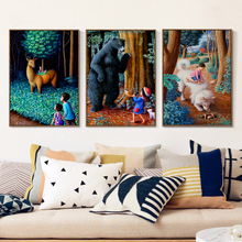 Popigist Children Animal Forest Fairy Tale World A4 Canvas Art Painting Print Poster Picture Wall House Home Decoration Murals(China)
