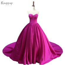 Long Evening Dress 2017 Puffy Sweetheart Sleeveless Simple Ball Gown Arabic Style Hot Pink Women Formal Evening Gowns(China)