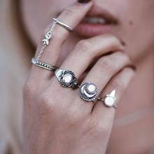 FAMSHIN New Fashion Boho National Style Jewelry Retro Bohemian Siamese Chain Mittens 4pcs/Set Rings Sun Moon Silver gold Ring(China)