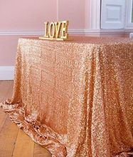 Sale! Sparkly Shiny 8FT 90''*156''Sparkly Rose Gold Sequin Tablecloth For Wedding/Event/Banquet Decoration