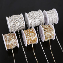 10yards/roll clear crystal SS6-SS18(2mm-4.5mm) Silver/Gold base Rhinestone Chain apparel Sewing style diy beauty accessories