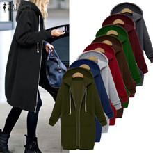 ZANZEA Women 2017 Autumn Winter Casual Long Hoodies Sweatshirt Coat Pockets Zip Up Outerwear Hooded Jacket Plus Size Tops(China)