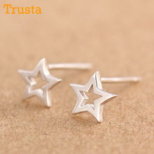 Trusta 2017 New Womens 100% 925 Sterling Silver Jewelry Tiny Hollow Out Star Earrings Gift Girls Kids DS68 Free shipping(China)