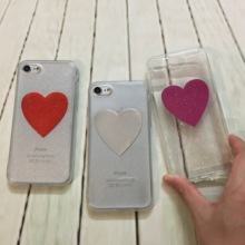 For i7/6s Glitter Peach Heart Jelly Phone Case Candy Soft Silicone TPU Love Case For iphone 7 7plus 6 6s 6plus Shell Back Cover(China)
