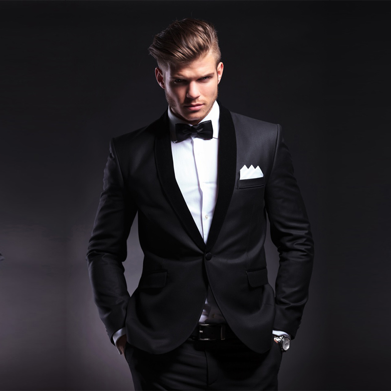 Hot Sale Black Groom Suits Groomsmen Tuxedos BEST Men Suit Men's Wedding suits Jacket Pants New 2 Piece Suits Custom Made