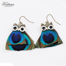 Katrina An owl shaped earring made of peacock wool Fashion temperament jewelry Girl like accessories jewelry Hot-selling