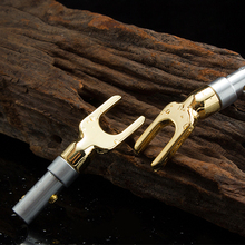 Buy 2x100% New Speaker Cable Y Fork Spade Gold plated Y Brass Speaker Plugs Audio Screw Connector Vintage Speaker Amplifier screw for $4.99 in AliExpress store