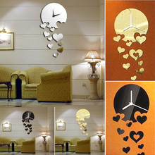 2017 New Luxury 3D Love Heart Home Clock Decor Bell Mirrors Wall Stickers For Living Room Bedroom Decorations