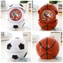 Creative Personality Household Cartoon Portable Folding Small Alarm Clock Bedside Clock Football Basketball Apple Shape 4 Colors