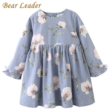 Bear Leader Girls Dress 2017New Brand Print Princess Dress Autumn Style Petal Sleeve Flowers Print Design For Children Clothes