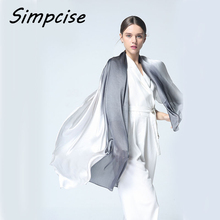 [Simpcise] 2017 Women Silk Scarf Fashion Ombre Echarpe Smooth Summer Wrap Female Luxury Scarves Foulard Beach cover-up S9A189038(China)