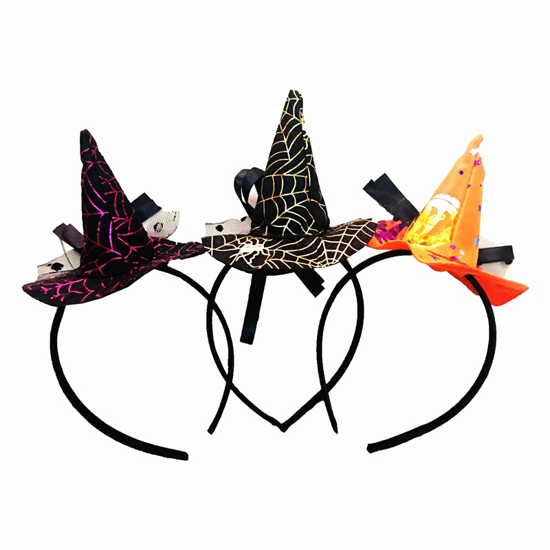 1pc Halloween Hair Bands Little Witch Sharp Hat headband cuffs Witch Head Hoop For Halloween party Decoration Props Supplies
