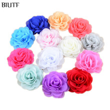 200pcs/lot Wholesale 3.15In Chiffon Silk Rosette Flowers For girls Headbands Garment Clothes Accessories DIY Supply FH28(China)