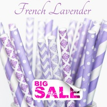 125pcs Mixed Colors FRENCH LAVENDER Drinking Paper Straws,Purple and Lilac Damask,Lavender Stripe,Dot,Chevron,Wedding Shower