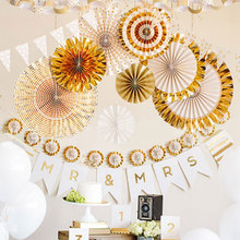 8Pcs Folding Glitter Paper Fan Tissue Hanging Party Supplies Wedding Decoration 2 Color Festive Decoration(China)
