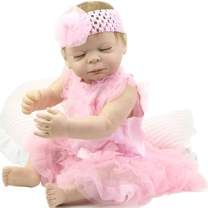 Collectible Lifelike Reborn Babies 20 Inch Full Silicone Vinyl Alive Sleeping Newborn Baby Toy With Dress Kids Birthday Gift<br><br>Aliexpress
