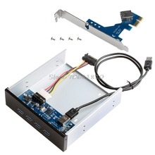 "4 Ports USB 3.0 PCI Express PCI-E Card Adapter 5.25"" Front Panel Expansion Bay -R179 Drop Shipping"