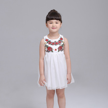 2016 Cute Style girls clothes fashion White bud silk gauze girls dress of tall waist round collar sleeveless vest dress