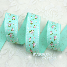 (5 yards/lot) 1'' (25mm) Light Green grosgrain ribbon printed lovely floral series ribbons