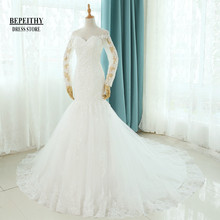 Buy Real Photos Vestido De Novia Mermaid Wedding Dresses Court Train Long Sleeve Customized Cheap Brides Dress Long Lace Bridal Gown for $161.85 in AliExpress store