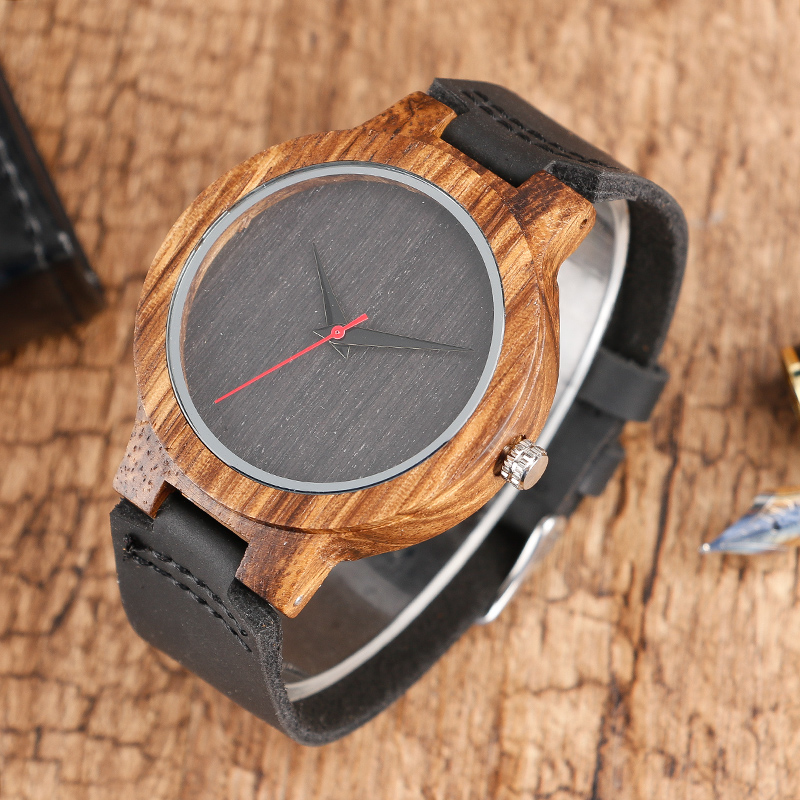 Top Gift BlackCoffeeGreen Dial Natural Bamboo Wood Watch Men Women Genuine Leather 2017 Wooden Clock Male hour Reloj de madera 2017 Christmas Gifts (8)
