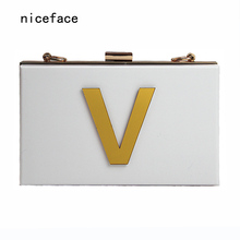 2017 New Wallet gold letters brand fashion evening bag elegant white acrylic Shoulder Bag cute Handbag party cross casual clutch