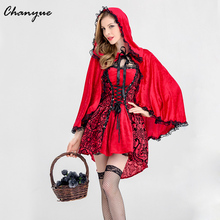 Chanyue Women's Dress For Halloween 's Day Little Red Riding Hood Mini Dress Party Costume Cloak Hooded Clothes Female Lace up(China)