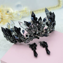 Bavoen Handmade Luxury Black Baroque Style Bridal Crystal Crown Tiara Headpieces Evening Hair Accessories(China)