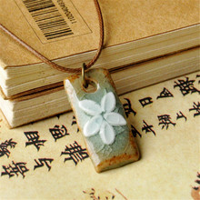 Fashion ethnic style original ceramic bronze adjustable handmade porcelain flowers pendant necklace for women he042