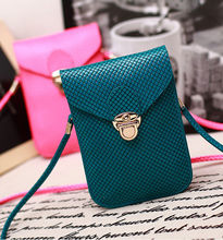 Turquoise PU Leather Handbag Shoulder Bag Wallet Purse Universal Mobile Phone Bag for iPhone 5S 6 6S Samsung S5 S6 S7(China)